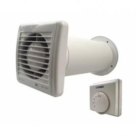 Bagno Cappa 4 pollici 100 mm con timer sensore di umidit/à e Backdraft Damper 100 m/³ h 32 dB IPX4 Bianco