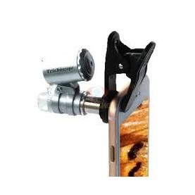 MICROSCOPIO TRICHOSCOPE 60X ZOOM CON CLIP PER ATTACCO A FOTOCAMERA CELLULARE